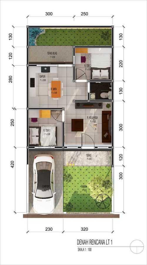 Denah dan sketsa rumah minimalis sederhana 6x12