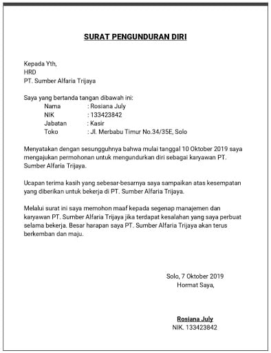 16+ Contoh surat pernyataan pengunduran diri terbaru yang baik
