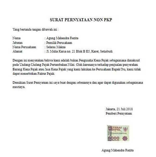 Surat Non PKP